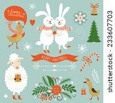 christmas clip art. letering ... | Shutterstock .eps vector #233607703