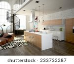 modern loft with a kitchen and... | Shutterstock . vector #233732287