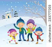 winter fun. happy family at... | Shutterstock .eps vector #233777203
