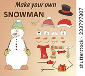 Funny Hand Drawn Snowman. Do...