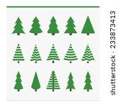 christmas trees collection. set ... | Shutterstock .eps vector #233873413