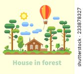 house in forest. vector flat... | Shutterstock .eps vector #233878327