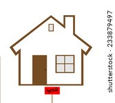 brown house with sold sign...   Shutterstock . vector #233879497