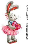 Cute Bunny Rabbit. Watercolor...