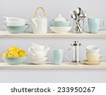 kitchenware on wooden shelves | Shutterstock . vector #233950267