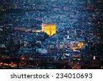 aerial view of arc de triomphe... | Shutterstock . vector #234010693