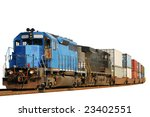 Two Locomotives Pulling A Trai...