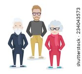 vector family with elderly grey ... | Shutterstock .eps vector #234043573
