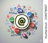 social media collage with icons ... | Shutterstock .eps vector #234078007
