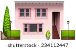 a pink office building on a...   Shutterstock .eps vector #234112447