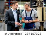 young boss and worker in... | Shutterstock . vector #234167323