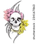skull and flowers vector... | Shutterstock .eps vector #234167863