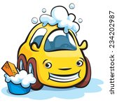 smiling yellow car wash cartoon ... | Shutterstock .eps vector #234202987