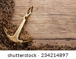 Anchor On Wood Background