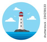rock in the sea with lighthouse | Shutterstock .eps vector #234258133