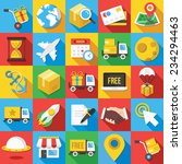 Vector Flat Icons Set With Lon...