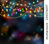 christmas lights background.... | Shutterstock .eps vector #234376057