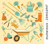 Set Of  Gardening Objects In...