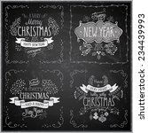 christmas hand drawn card set   ... | Shutterstock .eps vector #234439993