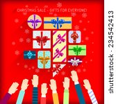 reaching for colorful christmas ... | Shutterstock .eps vector #234542413