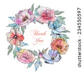 wreath with watercolor flowers | Shutterstock . vector #234550597