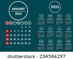 american 2015 calendar on dark... | Shutterstock .eps vector #234586297