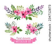 Vector Flowers Set. Colorful...
