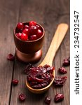Dried Cranberry On A Wood Spoo...