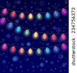 realistic lantern garland on... | Shutterstock . vector #234756373