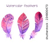 purple watercolor feathers.... | Shutterstock .eps vector #234800473