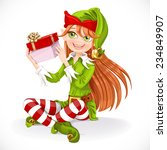 Cute Girl Santa Elf Sit On...