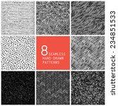 8 seamless hand drawn patterns. ... | Shutterstock . vector #234851533