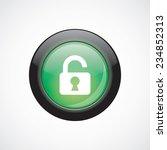 unlock glass sign icon green...
