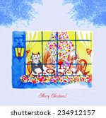card with christmas eve  a dog... | Shutterstock .eps vector #234912157