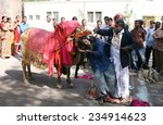 Small photo of HYDERABAD,INDIA-JANUARY 13:Indian Master show the bovine and human coordination during Gangireddu aata in sankranti festival season in Hyderabad,India on January 13,2013..