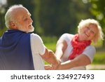 Stock photo old senior couple dancing happy together in nature 234927493