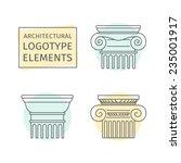 line flat icons columns.... | Shutterstock .eps vector #235001917