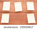 Five Stickers On Wood Background