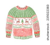 watercolor cozy sweater with... | Shutterstock .eps vector #235022383