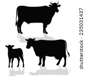 cow family silhouette with...