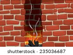 Brick Fireplace With Hot...