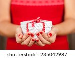Female Hands Holding A Present...
