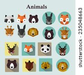 animals avatars set  raster...