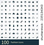 100 fashion icons set  black ... | Shutterstock . vector #235134343