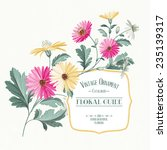 Vintage Flower Card Print With...