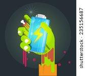 battery in zombie hand   addict ... | Shutterstock .eps vector #235156687