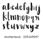 Modern Vector Watercolor Font Alphabet with Brushed Lettering Painted Letters  | Shutterstock vector #235169047