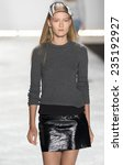 Small photo of New York, NY - September 5, 2014: Katya Riabinkina walks the runway during rehearsal at Monique Lhuillier show during Mercedes-Benz Fashion Week Spring 2015 at The Theatre at Lincoln Center