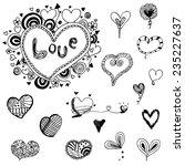 heart doodle vector set | Shutterstock .eps vector #235227637