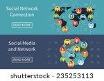 social media network connection ... | Shutterstock .eps vector #235253113